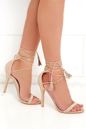 Awe I Want Nude Suede Lace-Up Heels at Lulus.com!