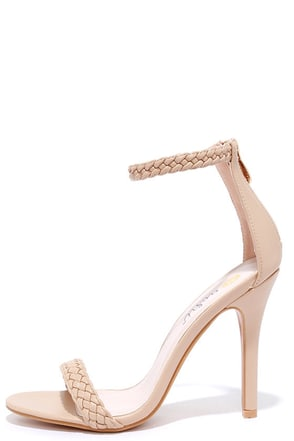 Braid for Each Other Nude Ankle Strap Heels at Lulus.com!