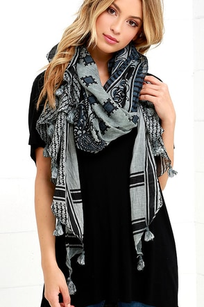 Ballad of East and West Grey Print Scarf at Lulus.com!