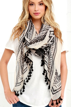 Legend and Bangalore Black and Beige Print Scarf at Lulus.com!