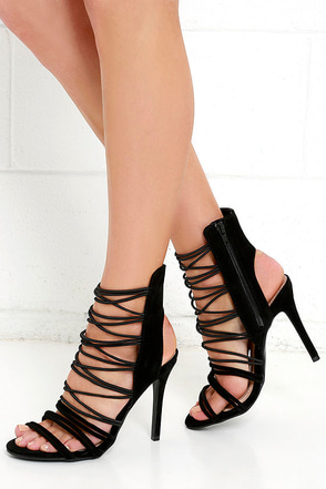 You Sexy Thing Black Suede Caged Heels at Lulus.com!