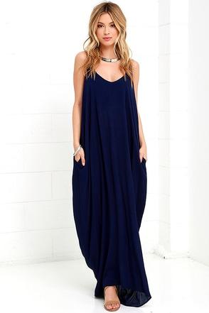 Garden Charmer Navy Blue Maxi Dress at Lulus.com!