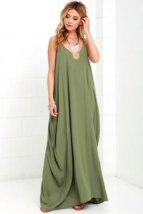 Garden Charmer Olive Green Maxi Dress at Lulus.com!