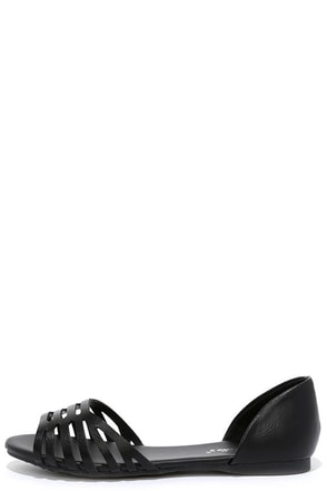 A Walk In the Park Black Flat Sandals at Lulus.com!