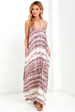 Yours Tule Mauve Tie-Dye Maxi Dress 1