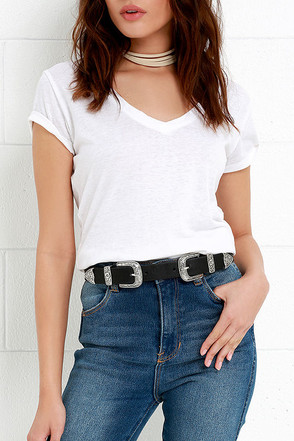 Sweet Melody Black and Silver Double Buckle Belt at Lulus.com!