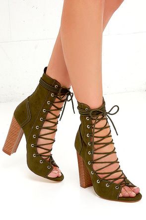 Chic Stride Olive Suede Lace-Up Booties at Lulus.com!