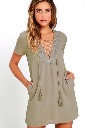 Friendly Fronds Khaki Lace-Up Dress at Lulus.com!