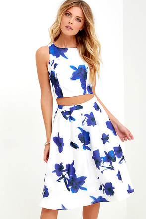 Just My Imagination Ivory and Blue Floral Print Two-Piece Dress at Lulus.com!