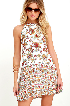 Harvest of Love Ivory Print Halter Dress