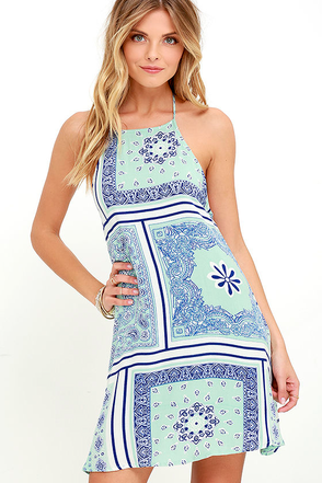 Commander in Kerchief Mint Green Print Halter Dress at Lulus.com!