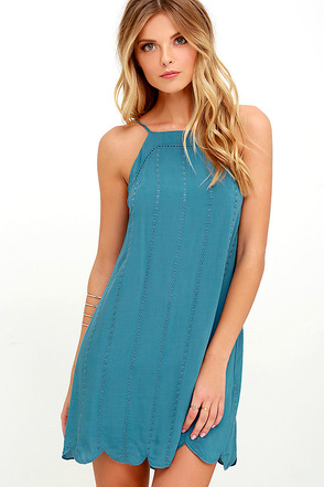 Country Road Blue Embroidered Dress at Lulus.com!