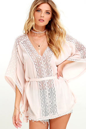 Wait and Whimsy Blush Pink Lace Kaftan Top at Lulus.com!