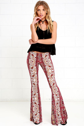 Floral Festival Burgundy and Yellow Floral Print Flare Pants at Lulus.com!
