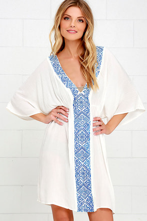 Love Your Way Blue and Ivory Embroidered Cover-Up at Lulus.com!