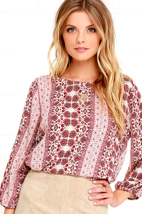 Anywhere With You Rust Red Print Top at Lulus.com!