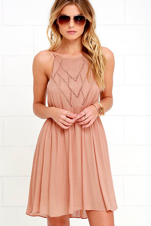 Leaf in the Wind Dusty Peach Embroidered Dress at Lulus.com!