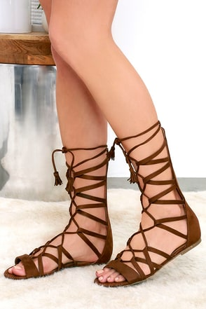 Spice Market Cognac Suede Lace-Up Gladiator Sandals at Lulus.com!