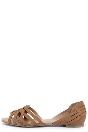 Equatorial Tan Huarache Flats at Lulus.com!