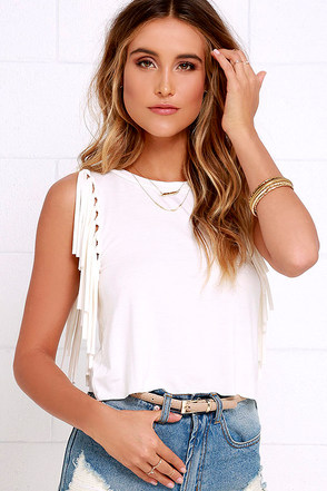 Strings Attached Ivory Fringe Top at Lulus.com!