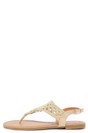 Above and Beyond Beige Crochet Thong Sandals at Lulus.com!
