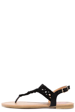 Above and Beyond Black Crochet Thong Sandals at Lulus.com!