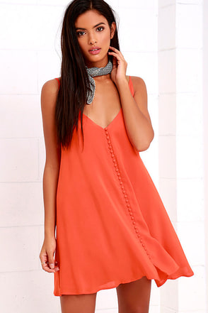 Cute as a Button Orange Swing Dress at Lulus.com!