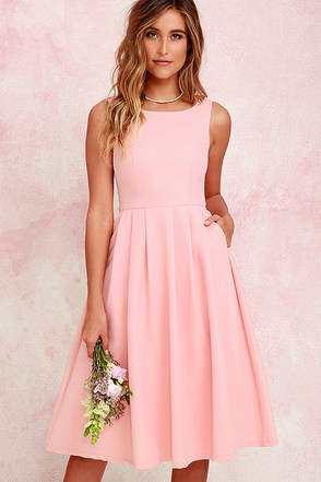 Ambitious Beauty Peach Midi Dress at Lulus.com!