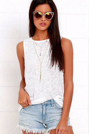 Billabong Mid Summer Dream Ivory Muscle Tee at Lulus.com!