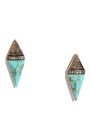 Arizona Archaeology Gold and Turquoise Earrings at Lulus.com!