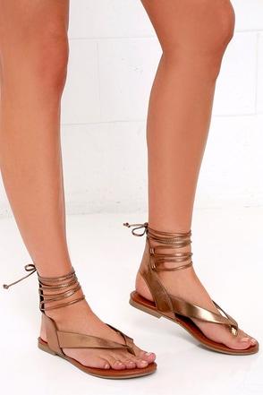 Hidden Altar Light Bronze Lace-Up Thong Sandals at Lulus.com!