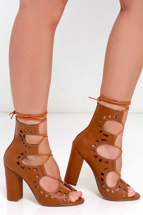 Laser Vision Cognac Lace-Up Booties at Lulus.com!