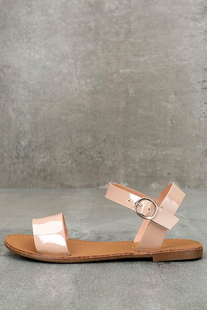 Hearts and Hashtags Blush Patent Flat Sandals 1