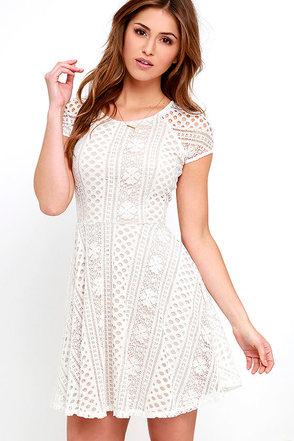 Eagerly Awaited Beige and Ivory Lace Skater Dress at Lulus.com!