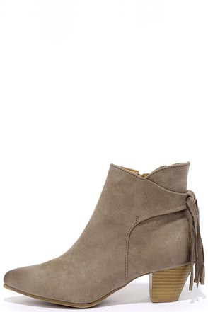 El Camino Taupe Suede Pointed Toe Booties at Lulus.com!