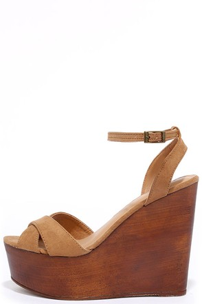 Creative Mind Tan Suede Platform Wedges at Lulus.com!