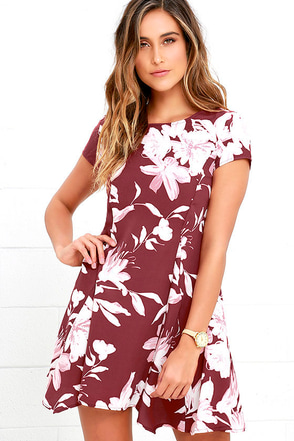 Through the Fields Marsala Red Floral Print Dress at Lulus.com!