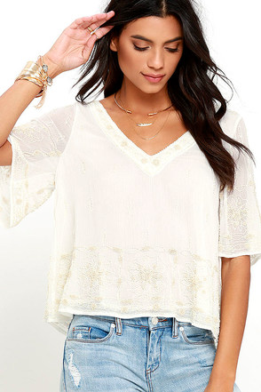 Dancing Doll Ivory Beaded Top at Lulus.com!