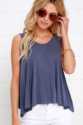Grand Slam Washed Blue Tank Top at Lulus.com!