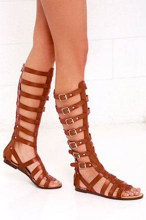 Madden Girl Penna Cognac Tall Gladiator Sandals at Lulus.com!