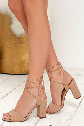 Watch Me Wow Natural Lace-Up Heels at Lulus.com!