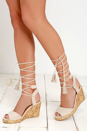Canary Islands Beige Suede Lace-Up Wedges at Lulus.com!