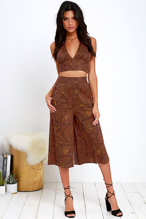 Amuse Society Edie Brown Print Culottes at Lulus.com!