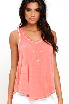 Vagabond Washed Coral Sleeveless Top at Lulus.com!