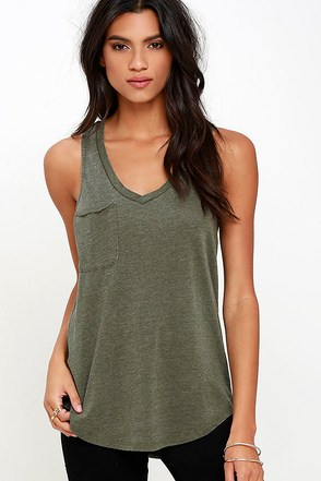 The Racer Washed Olive Green Tank Top at Lulus.com!