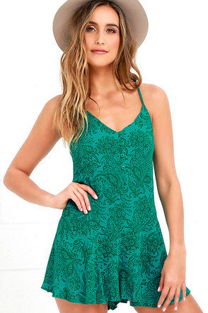 O'Neill Rosalyn Turquoise Print Romper at Lulus.com!