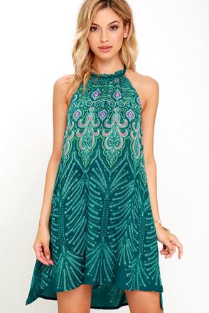 O'Neill Tamera Dark Green Print Dress at Lulus.com!