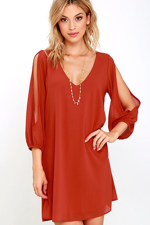 Shifting Dears Rust Orange Long Sleeve Dress at Lulus.com!