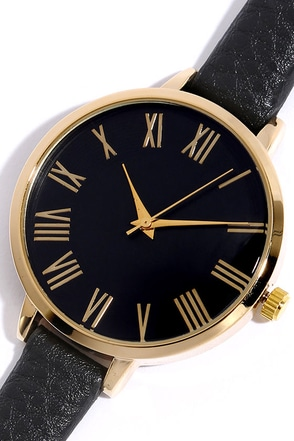 Time Can Tell Gold and Black Leather Watch 1