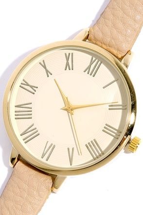 Time Can Tell Gold and Beige Leather Watch at Lulus.com!